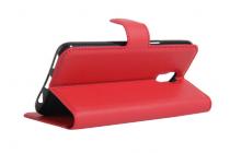 """Фирменный чехол-книжка из качественной импортной кожи с мульти-подставкой застёжкой и визитницей для LG X View LGK500DS / X Screen K500Y 4.93"""" красный"""