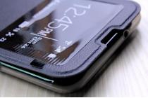 """Фирменный оригинальный чехол-книжка для LG X View LGK500DS / X Screen K500Y 4.93"""" черный с окошком для входящих вызовов водоотталкивающий"""