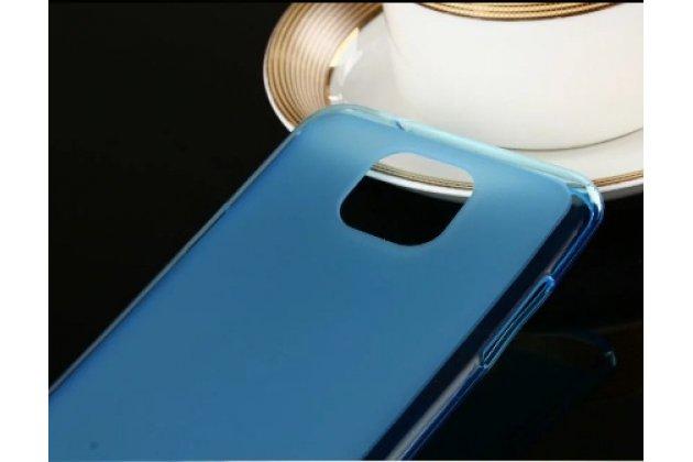 Фирменная ультра-тонкая силиконовая задняя панель-чехол-накладка для LG X cam K580DS 5.2 голубая