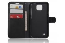 Фирменный чехол-книжка для  LG X cam K580DS 5.2  с визитницей и мультиподставкой черный кожаный