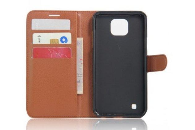 Фирменный чехол-книжка для  LG X cam K580DS 5.2 с визитницей и мультиподставкой коричневый кожаный