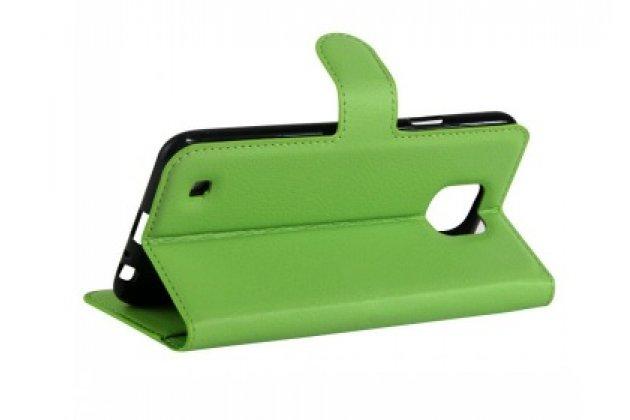 Фирменный чехол-книжка дляLG X cam K580DS 5.2 с визитницей и мультиподставкой зеленый кожаный