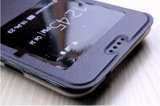 Фирменный оригинальный чехол-книжка для LG X cam K580DS 5.2 черный с окошком для входящих вызовов водоотталкивающий