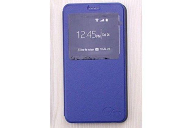 Фирменный оригинальный чехол-книжка для LG X cam K580DS 5.2 синий с окошком для входящих вызовов водоотталкивающий