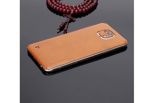 Эксклюзивная оригинальная кожаная наклейка на заднюю крышку для LG X cam K580DS коричневая
