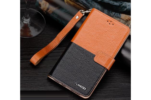 """Фирменный чехол-книжка для  LG X View LGK500DS / X Screen K500Y 4.93"""" с визитницей и мультиподставкой коричнево-черный кожаный"""