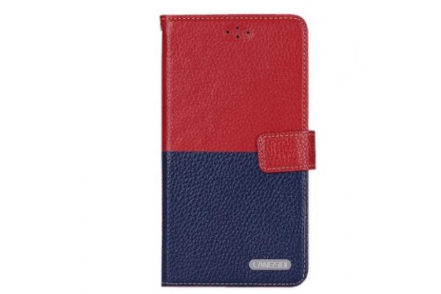 "Фирменный чехол-книжка для  LG X View LGK500DS / X Screen K500Y 4.93"" с визитницей и мультиподставкой красно-синий кожаный"