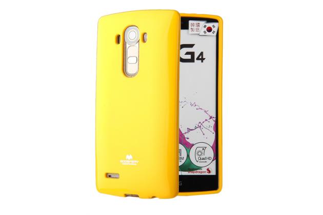 """Фирменная ультра-тонкая полимерная из глянцевого блестящего """"мармеладного"""" силикона задняя панель-чехол-накладка для LG X View LGK500DS / X Screen K500Y 4.93"""" желтая"""