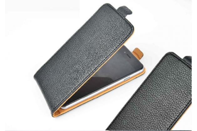 """Фирменный оригинальный вертикальный откидной чехол-флип для LG X View LGK500DS / X Screen K500Y 4.93"""" черный из качественной импортной кожи """"Prestige"""" Италия"""