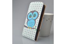 """Фирменный вертикальный откидной чехол-флип для LG X View LGK500DS / X Screen K500Y 4.93""""  """"тематика Сова"""""""