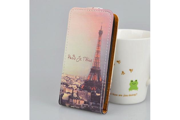 """Фирменный вертикальный откидной чехол-флип для LG X View LGK500DS / X Screen K500Y 4.93"""" """"тематика Париж"""""""