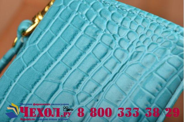 Фирменный роскошный эксклюзивный чехол-клатч/портмоне/сумочка/кошелек из лаковой кожи крокодила для телефона LG X5. Только в нашем магазине. Количество ограничено