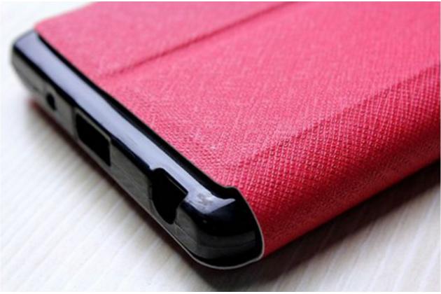 """Фирменный оригинальный чехол-книжка для LG Zero/LG Class H740 /H650E 5.0""""   красный с окошком для входящих вызовов водоотталкивающий"""