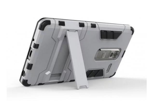 """Противоударный усиленный ударопрочный фирменный чехол-бампер-пенал для LG Zero/LG Class H740 /H650E 5.0""""  серебристый"""