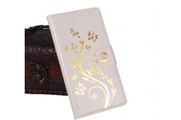 """Фирменный чехол-книжка для LG Bello 2/ Prime 2 X155 / LG Max X155 5.0""""   с визитницей и мультиподставкой белый кожаный"""