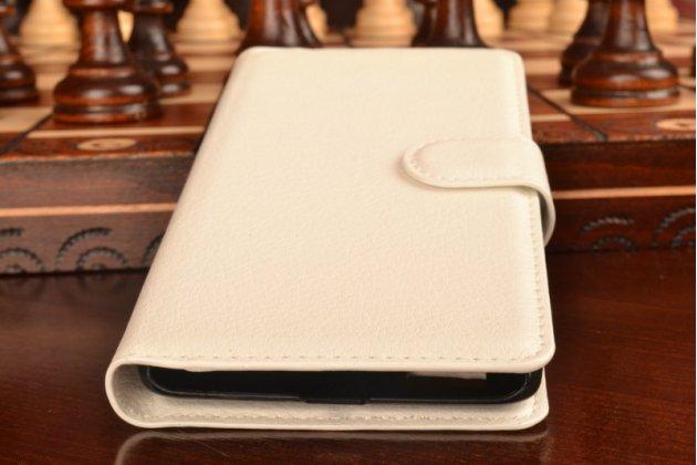 """Фирменный чехол-книжка из качественной импортной кожи с подставкой застёжкой и визитницей для Лджи Белло 2/ Прайм 2 5.0"""" белый"""