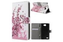 """Фирменный уникальный необычный чехол-книжка для LG Bello 2/ Prime 2 X155 5.0"""" """"тематика цветок Сакуры"""""""