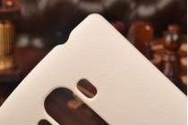 Фирменная задняя панель-крышка-накладка из тончайшего и прочного пластика для LG G4 Beat / G4s  белая
