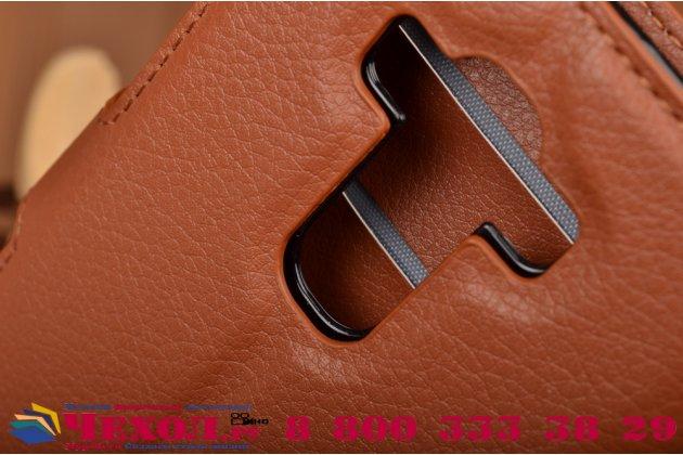 Фирменный чехол-книжка из качественной импортной кожи с мульти-подставкой застёжкой и визитницей для ЛДжи Джи4 Бит / Джи4с коричневый
