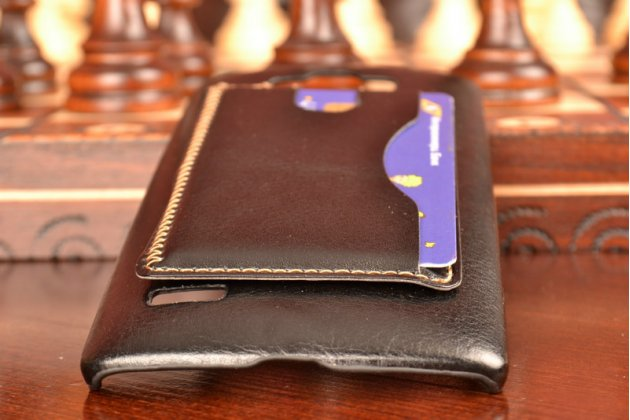 Фирменный чехол-накладка с визитницей для  LG G4 Beat / G4s обтянутая кожей буйвола черная