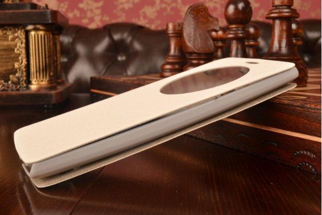 Фирменный оригинальный чехол-книжка для LG G4 Beat / G4s белый с окошком для входящих вызовов водоотталкивающий