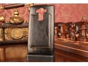 Фирменный чехол-накладка с визитницей для  LG G4 Beat / G4s обтянутая кожей буйвола черная..