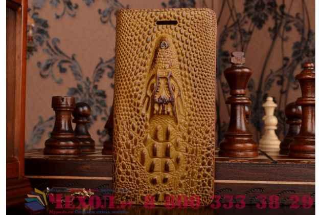 Фирменный роскошный эксклюзивный чехол с объёмным 3D изображением кожи крокодила коричневый для  LG G4 Beat / G4s . Только в нашем магазине. Количество ограничено