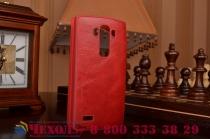 Фирменный оригинальный чехол-кейс из импортной кожи Quick Circle для LG G4 Beat / G4s с умным окном красный