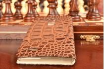 """Фирменный неповторимый экзотический чехол-книжка обтянутая кожей крокодила с фактурным тиснением для LG G4 Beat / G4s тематика """"Африканский Коктейль"""". Только в нашем магазине. Количество ограничено."""