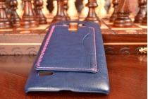 Фирменная роскошная элитная премиальная задняя панель-крышка для LG G4 Beat / G4s из качественной кожи буйвола с визитницей синий