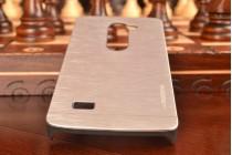Фирменная металлическая задняя панель-крышка-накладка из тончайшего облегченного авиационного алюминия для LG Leon  серебристая
