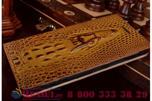 Фирменный роскошный эксклюзивный чехол с объёмным 3D изображением кожи крокодила коричневый для LG Max X155 . Только в нашем магазине. Количество ограничено