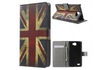 """Фирменный уникальный необычный чехол-книжка для LG Max X155 5.0"""" """"тематика британский флаг"""""""