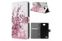 """Фирменный уникальный необычный чехол-книжка для LG Max X155 5.0"""" """"тематика цветок Сакуры"""""""