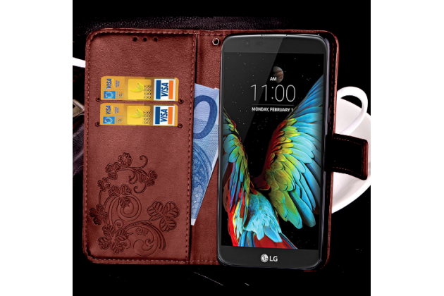 Фирменный чехол-книжка с красивым узором из качественной импортной кожи с подставкой застёжкой и визитницей для LG K10 (2017) M250 5.3 коричневый