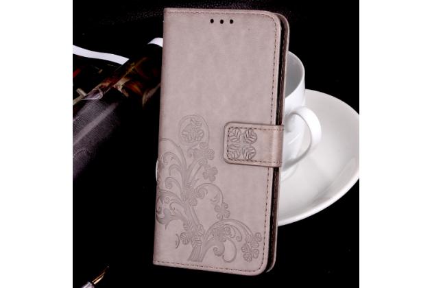 Фирменный чехол-книжка с красивым узором из качественной импортной кожи с подставкой застёжкой и визитницей для LG K10 (2017) M250 5.3 серый