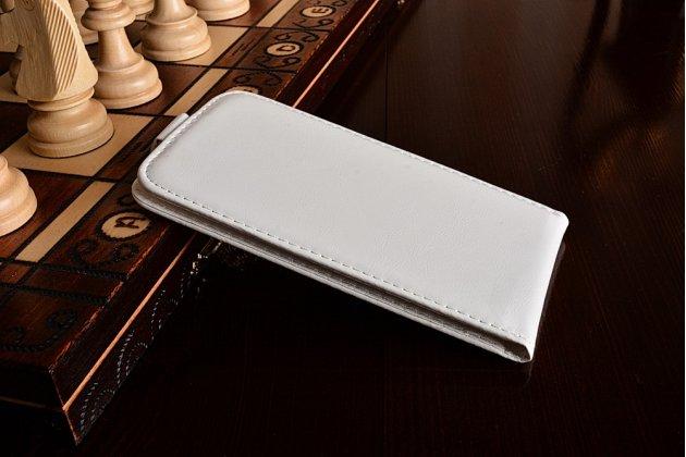 Фирменный оригинальный вертикальный откидной чехол-флип для LG K10 (2017) M250 белый из натуральной кожи Prestige