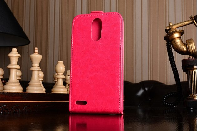 Фирменный оригинальный вертикальный откидной чехол-флип для LG K10 (2017) M250 розовый из натуральной кожи Prestige