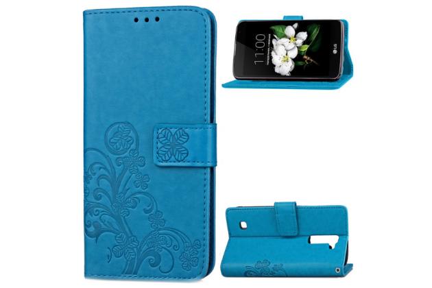 Фирменный чехол-книжка с красивым узором из качественной импортной кожи с подставкой застёжкой и визитницей для LG K7 (2017) X230 голубой