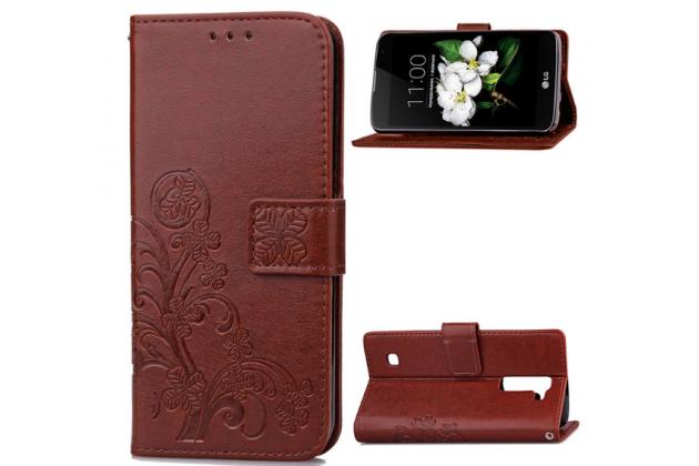 Фирменный чехол-книжка с красивым узором из качественной импортной кожи с подставкой застёжкой и визитницей для LG K7 (2017) X230 коричневый