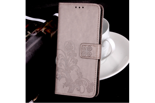 Фирменный чехол-книжка с красивым узором из качественной импортной кожи с подставкой застёжкой и визитницей для LG K7 (2017) X230 серый