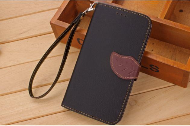 Фирменный уникальный необычный чехол-книжка для LG K7 (2017) X230 черный с декорированной застежкой в виде листочка