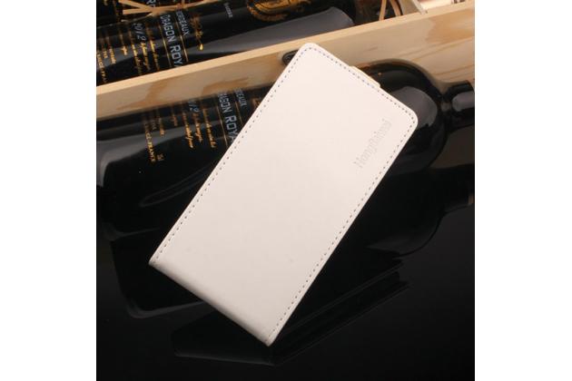 Фирменный оригинальный вертикальный откидной чехол-флип для LG K8 2017 (X240) белый из натуральной кожи Prestige Италия