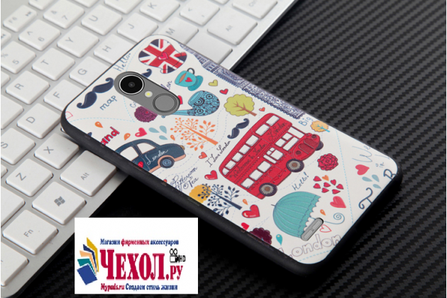 """Фирменная роскошная задняя панель-чехол-накладка  из мягкого силикона с безумно красивым расписным 3D рисунком на LG K8 2017 (X240) тематика """"Лондон"""""""