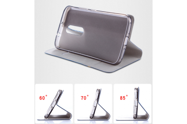 Фирменный чехол-книжка с визитницей и мультиподставкой на жёсткой металлической основе для LG X Venture M710DS / V9 черный из настоящей джинсы