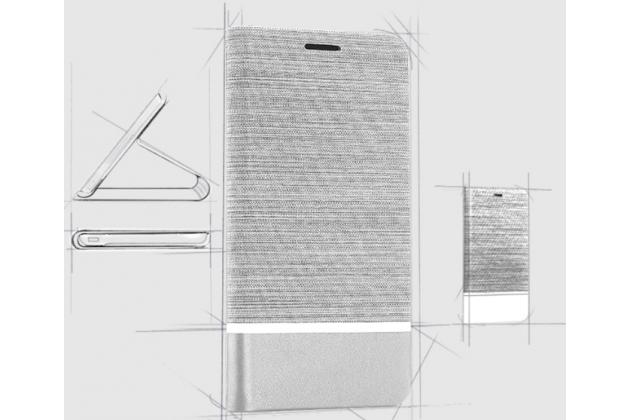 Фирменный чехол-книжка с визитницей и мультиподставкой на жёсткой металлической основе для LG X Venture M710DS / V9 серый из настоящей джинсы