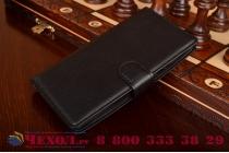 Фирменный чехол-книжка из качественной импортной кожи с подставкой застёжкой и визитницей для LG G Flex 2 (H959) черный