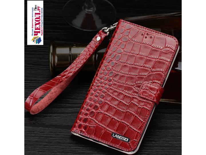 Фирменный роскошный эксклюзивный чехол с фактурной прошивкой рельефа кожи крокодила и визитницей красный для L..