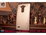 Фирменная задняя панель-крышка-накладка из тончайшего и прочного пластика для LG G Flex 2 (H959) золотая..