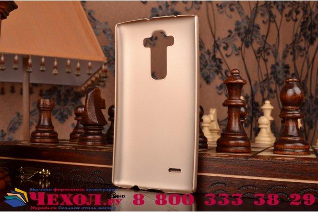 Фирменная задняя панель-крышка-накладка из тончайшего и прочного пластика для LG G Flex 2 (H959) золотая